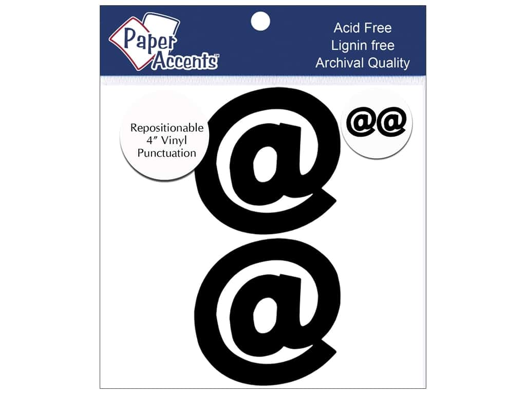 "Paper Accents Adhesive Vinyl 4 in. Punctuation ""@"" 2 pc. Removable Black"