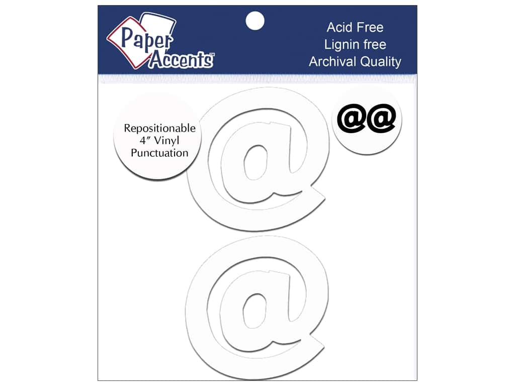 "Paper Accents Adhesive Vinyl 4 in. Punctuation ""@"" 2 pc. Removable White"
