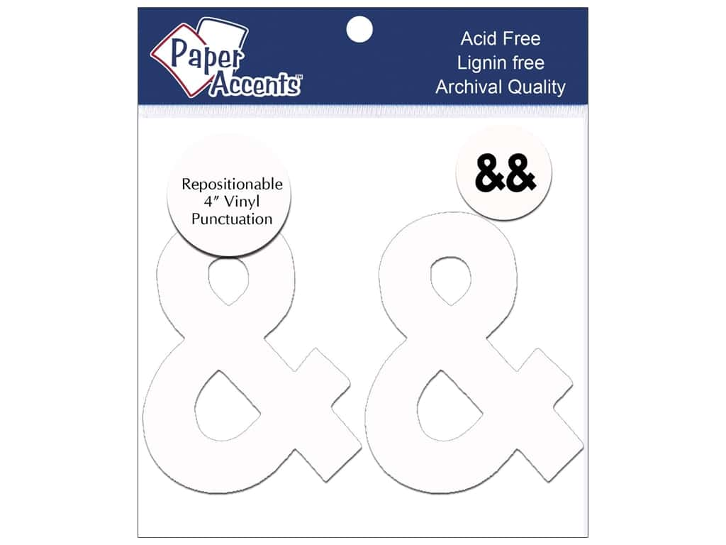 "Paper Accents Adhesive Vinyl 4 in. Punctuation ""&"" 2 pc. Removable White"
