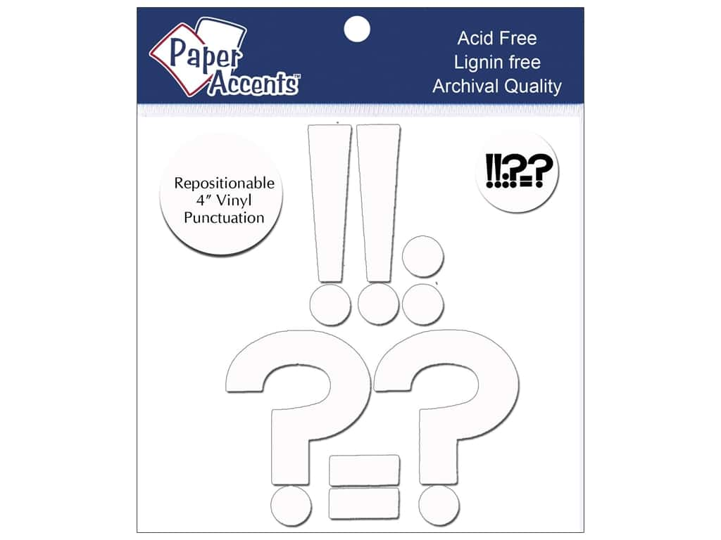 "Paper Accents Adhesive Vinyl 4 in. Punctuation ""!?-."" 8 pc. Removable White"