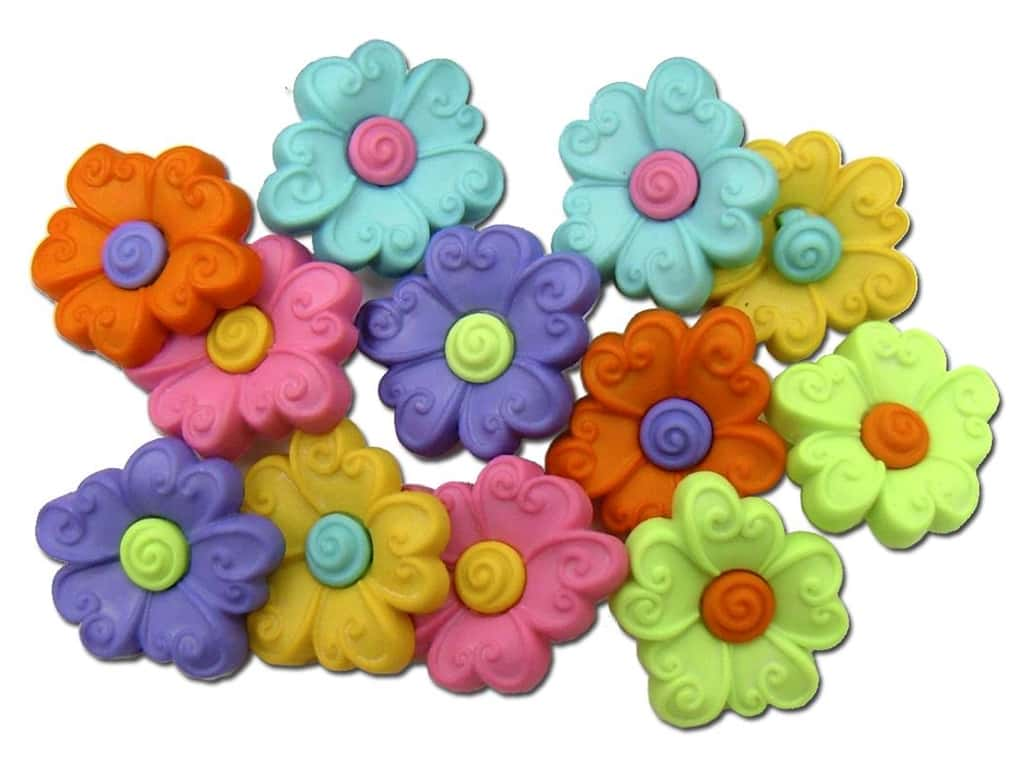 Jesse James Dress It Up Embellishments Button Fun Two Part Flower