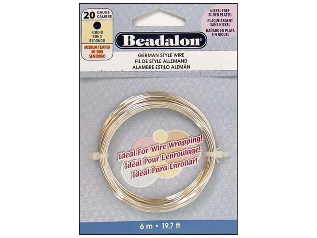 Beadalon German Style Wire 20ga Round Silver Plated 19.7 ft.