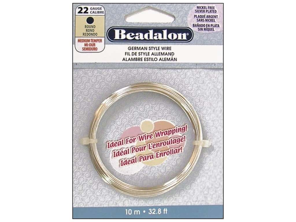 Beadalon German Style Wire 22ga Round Silver Plated 32.8 ft.