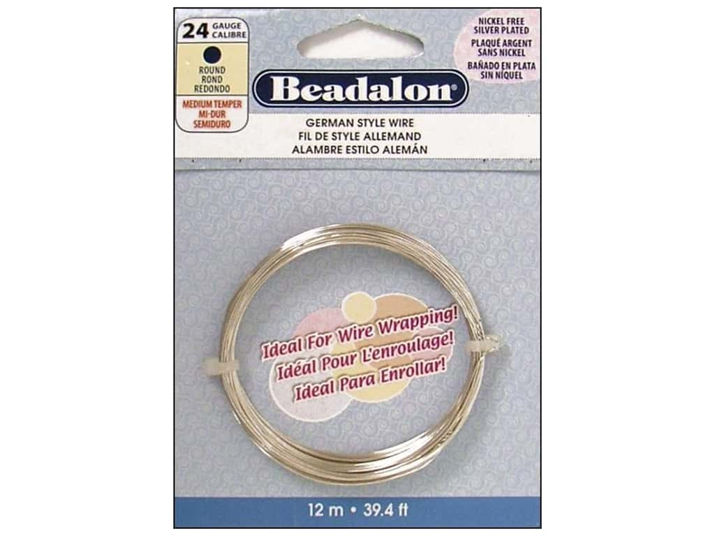 Beadalon German Style Wire 24ga Round Silver Plated 39.4 ft.