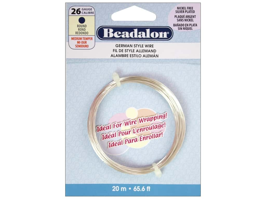 Beadalon German Style Wire 26ga Round Silver Plated 65.5 ft.