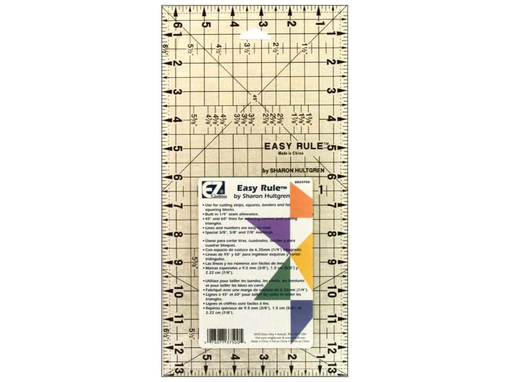 EZ Quilting Easy Rule Acrylic Ruler 6 1/2 x 13 in.