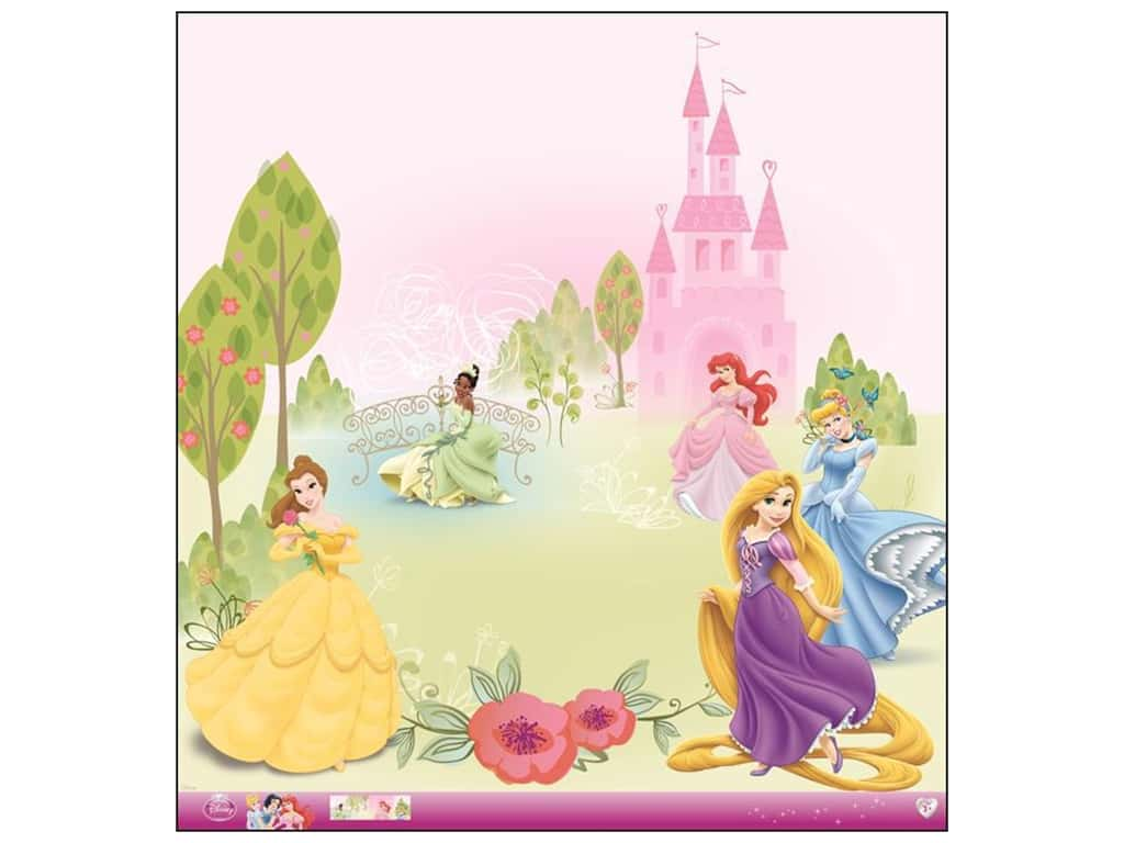 EK 12 x 12 in. Paper Disney Princess Multi Glitter (12 sheets)