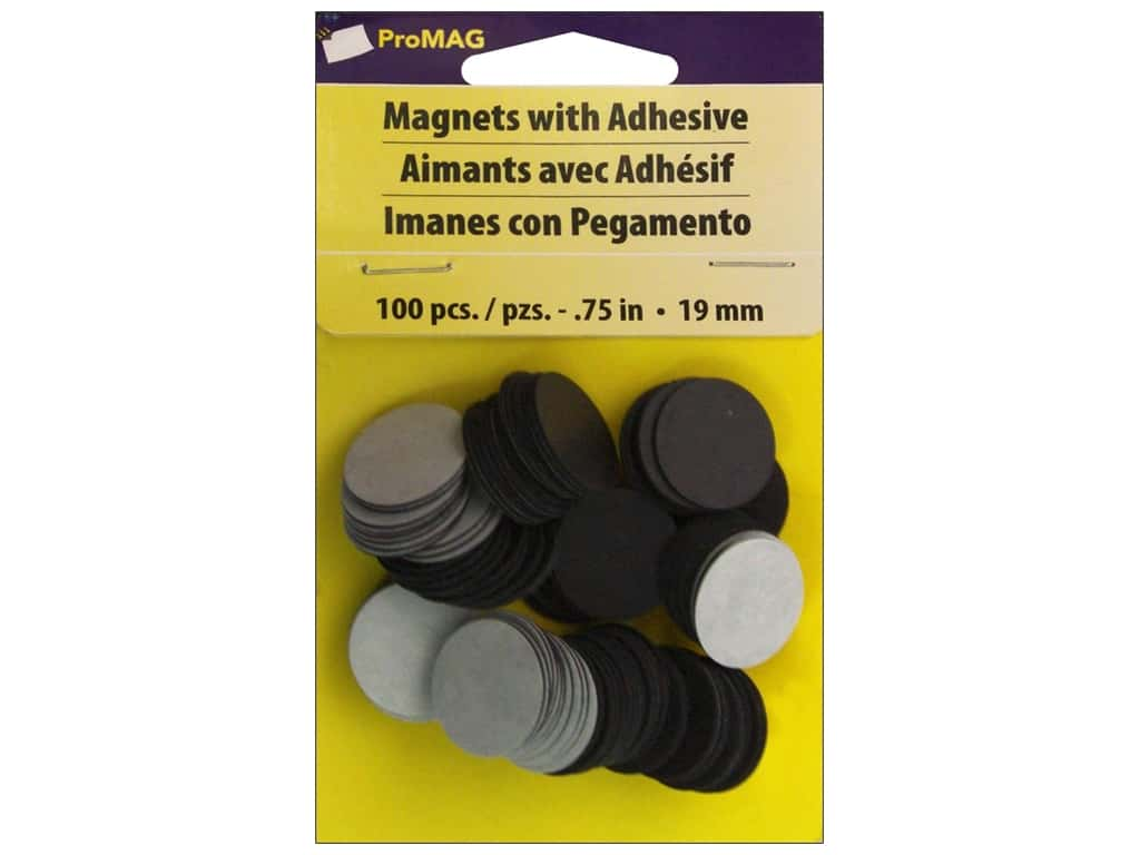 ProMag 3/4 in. Round Magnet with Adhesive 100 pc.