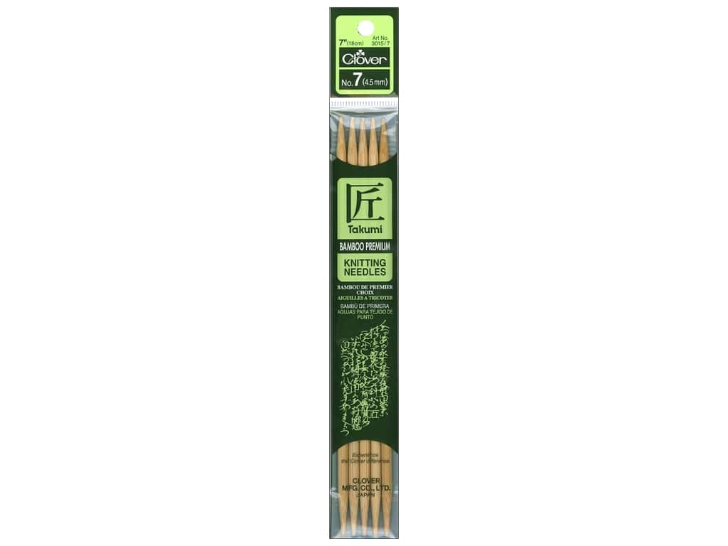 Clover Bamboo Knitting Needle Double Point 7 in. Size 7 (4.5mm) 5 pc.