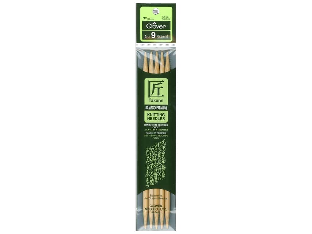 Clover Bamboo Knitting Needle Double Point 7 in. Size 9 (5.5mm) 5 pc.