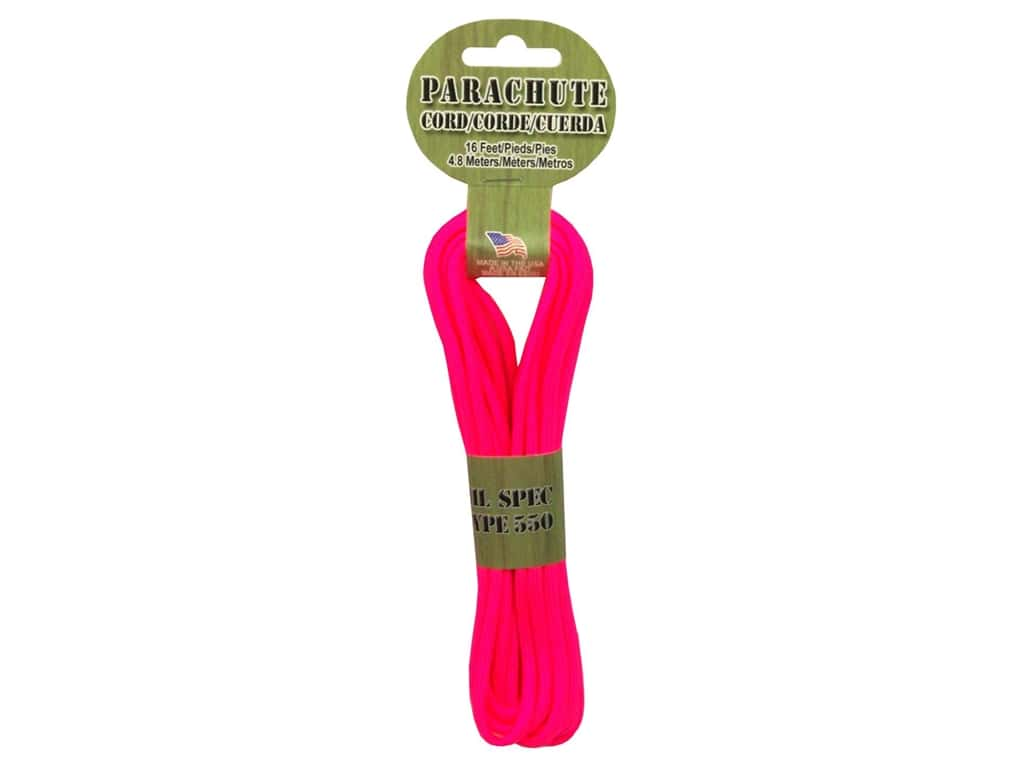 Pepperell 550 Parachute Cord 16 ft. Neon Pink