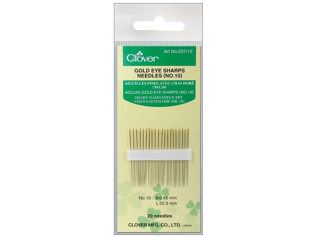 Clover Gold Eye Sharps Needles - Size 10 20 pc.