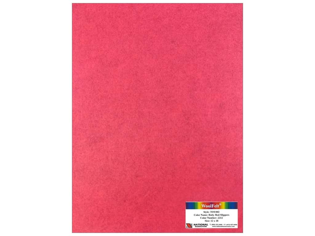National Nonwovens 35% Wool Felt 12 x 18 in. Ruby Red Slippers (10 sheets)