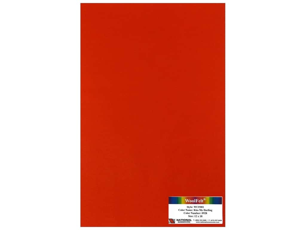 National Nonwovens 20% Wool Felt 12 x 18 in. Kiss Me Darling (10 sheets)