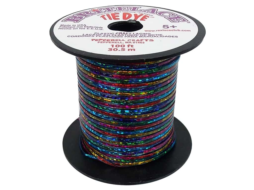 Pepperell Rexlace Craft Lace 100 ft. Tye-Dye Clear Blue