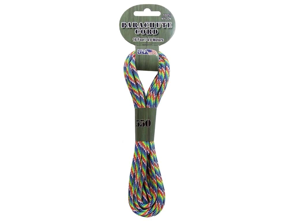 Pepperell 550 Parachute Cord 16 ft. Rainbow