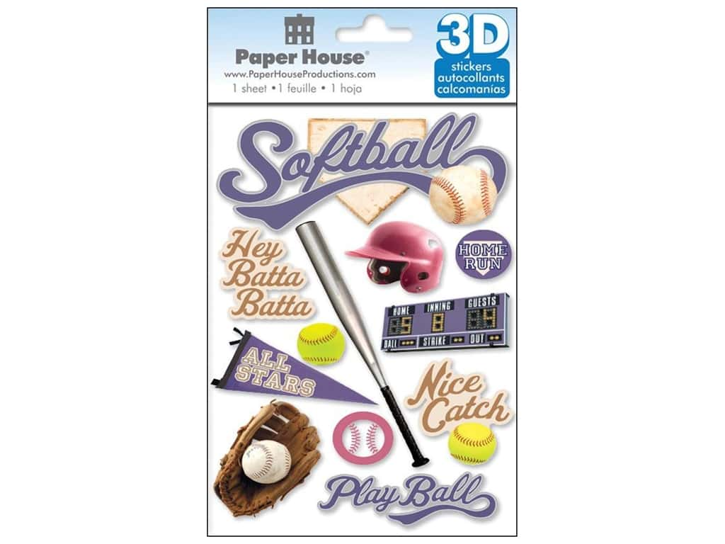 Paper House Sticker 3D Softball
