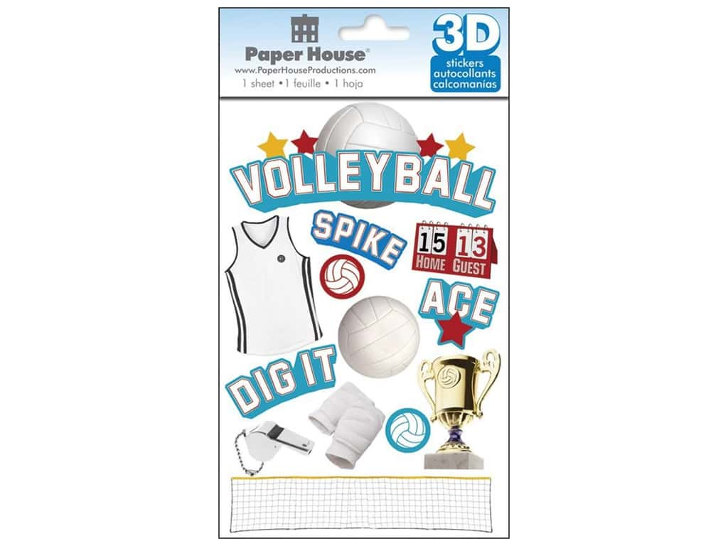 Paper House 3D Stickers - Volleyball