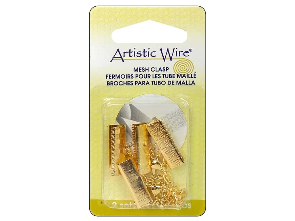 Artistic Wire Mesh Clasp with Extension Chain & Lobster Clasp 3/4 in. 2 pc. Gold