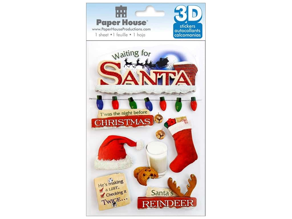Paper House Sticker 3D Waiting For Santa