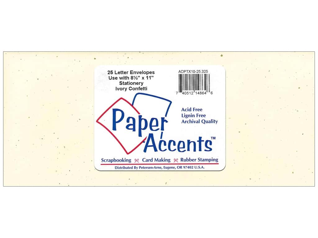 Paper Accents 4 x 9 1/4 in. Letter Envelopes 25 pc. Ivory Confetti