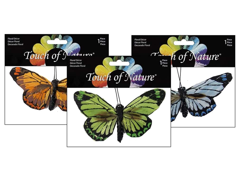 "Midwest Design Butterfly 4"" Feather Clip Assorted 1pc"