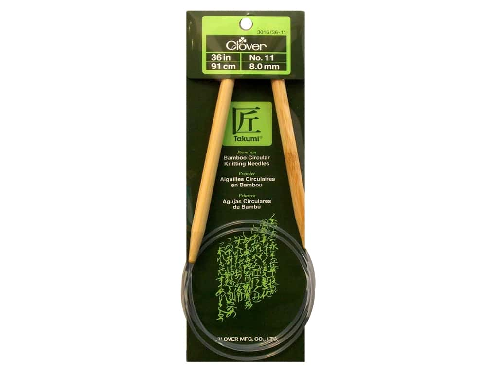 Clover Bamboo Circular Knitting Needles 36 in. Size 11 (8 mm)