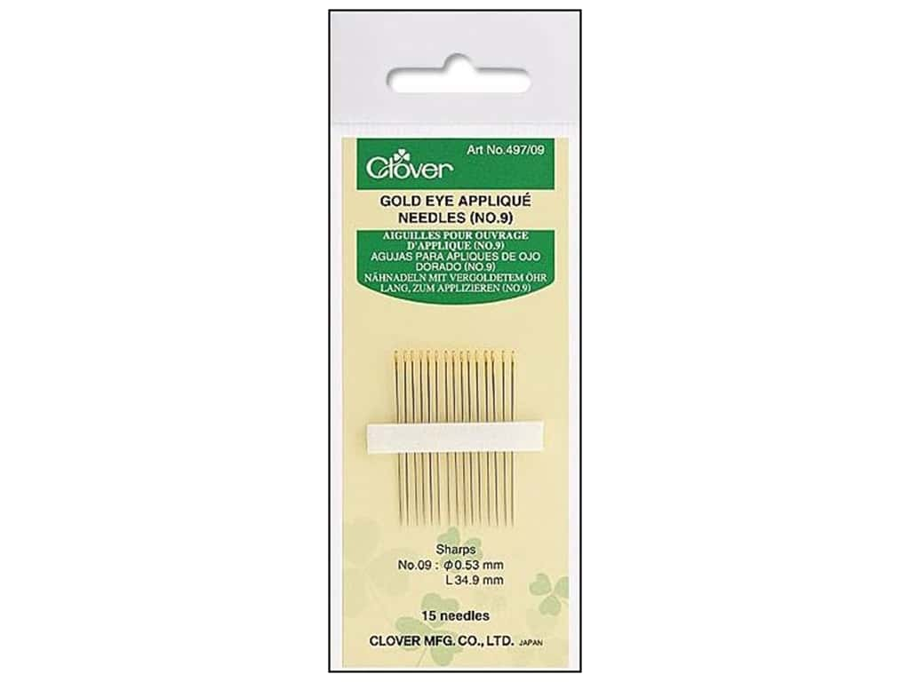 Clover Gold Eye Quilting Needles 15 pc. Applique Size 9