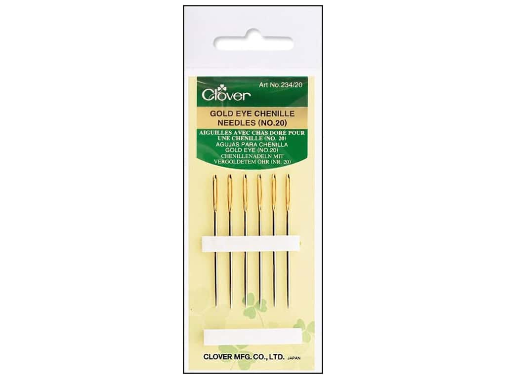Clover Gold Eye Chenille Needles - Size 20 6 pc.