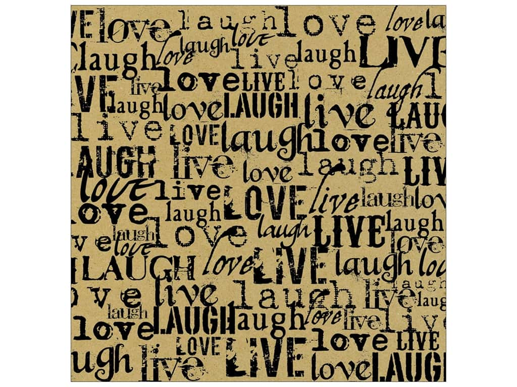 Canvas Corp 12 x 12 in. Paper Black & Kraft Live Love Laugh (15 sheets)