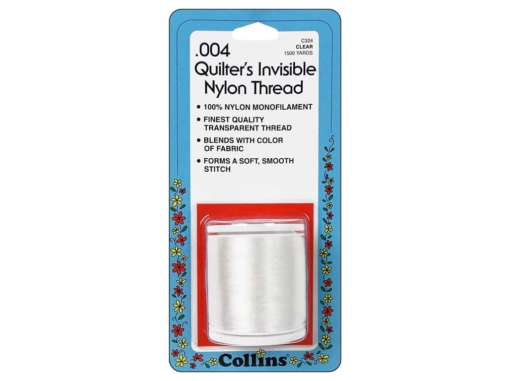 Quilters Invisible Nylon Thread by Collins .004 Clear 1500 yd.