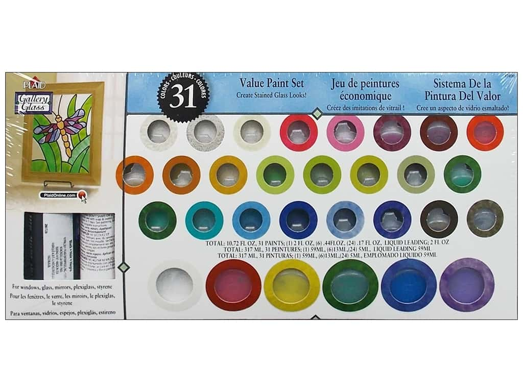 Plaid Gallery Glass Window Color Value Paint Set - 31 Colors