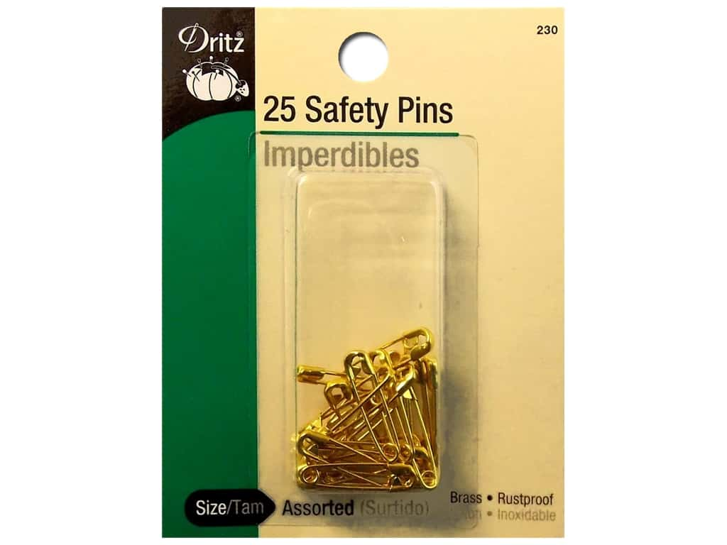 Safety Pins by Dritz Assorted Size Brass 25pc.