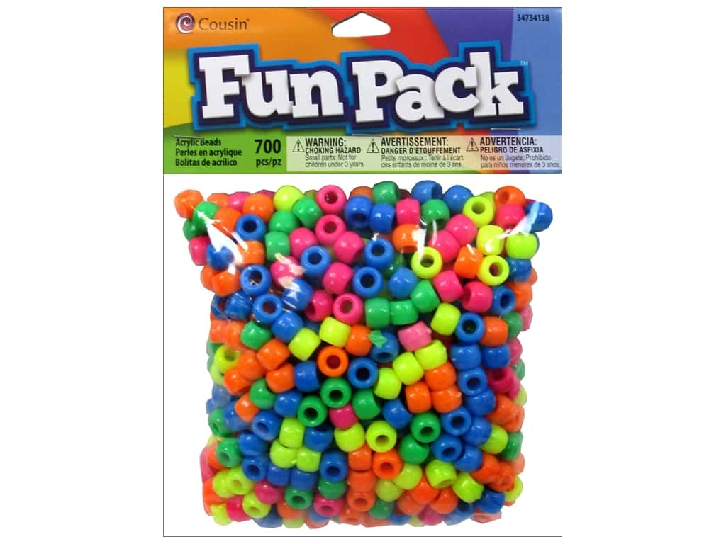 Cousin Fun Pack Pony Beads 700 pc. Neon Mix