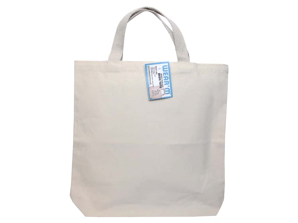 Mark Richards Canvas Tote 13 1/2 x 13 1/2 x 2 in. Natural