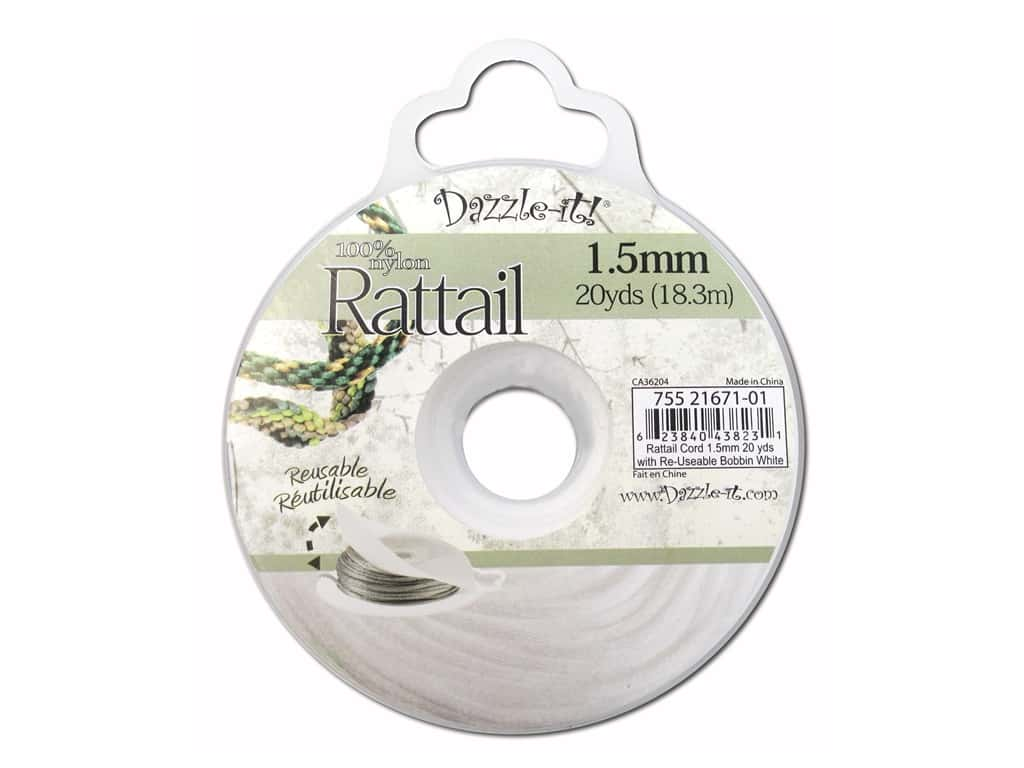 Dazzle It Rattail Cord 1.5 mm x 20 yd. White