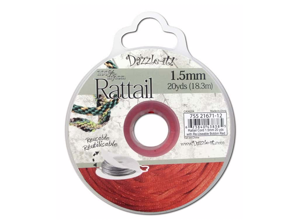 Dazzle It Rattail Cord 1.5 mm x 20 yd. Red