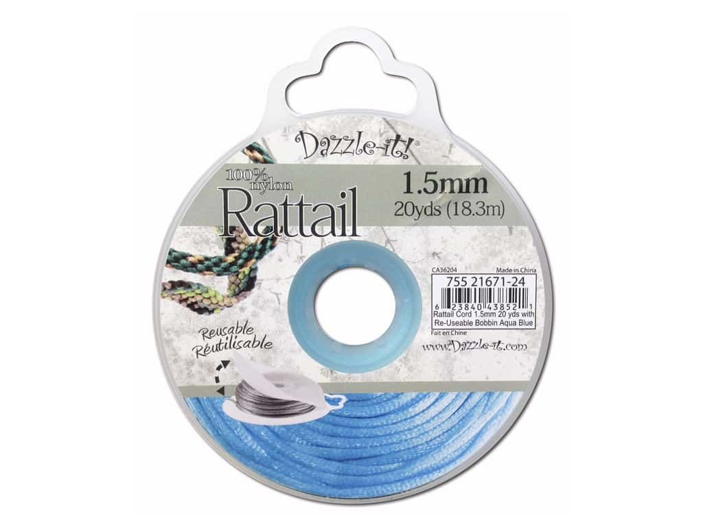 Dazzle It Rattail Cord 1.5 mm x 20 yd. Aqua Blue