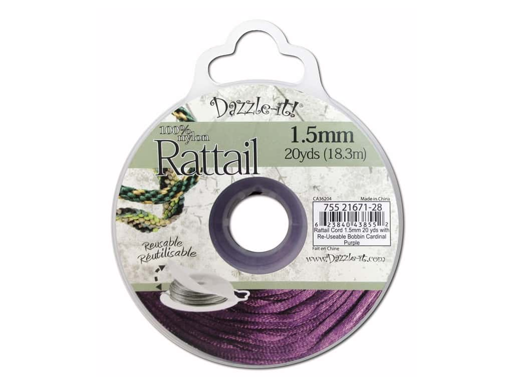 Dazzle It Rattail Cord 1.5 mm x 20 yd. Cardinal Purple
