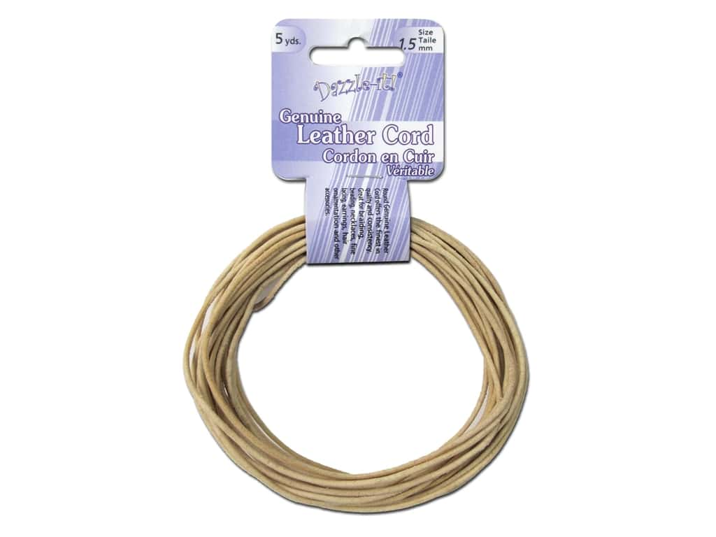 Dazzle It Leather Cord 1.5 mm x 5 yd. Round Natural