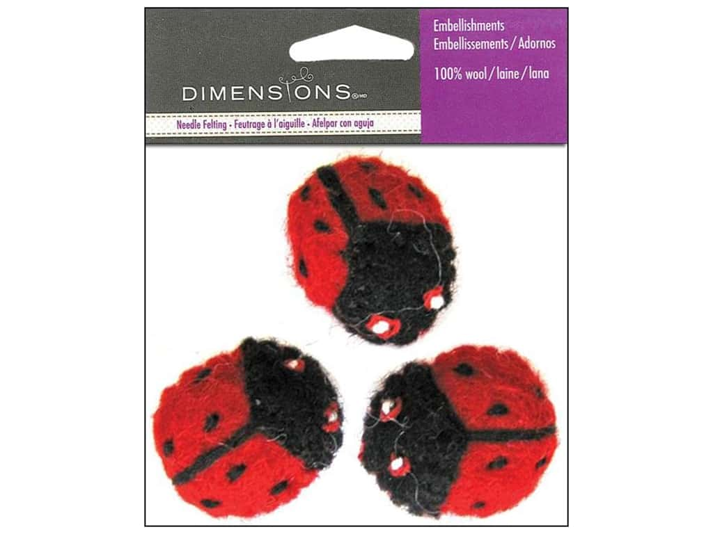 Dimensions Wool Felt Embellishment Ladybugs