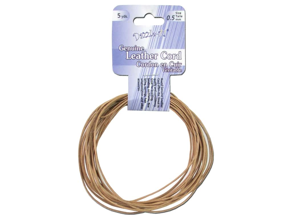 Dazzle It Leather Cord .5 mm x 5 yd. Round Natural
