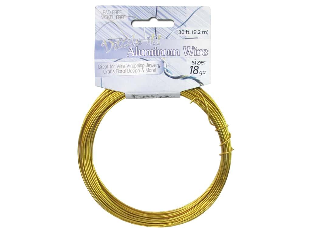 Dazzle It Aluminum Wire 18 ga. 30 ft. Round Gold