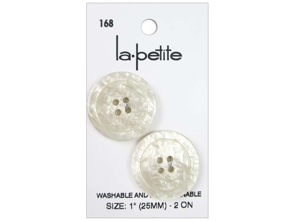 LaPetite 4 Hole Buttons 1 in. Ivory #168 2pc.