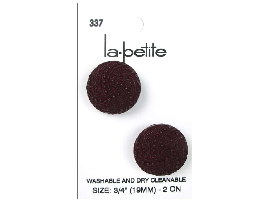 LaPetite Shank Buttons 3/4 in. Burgundy #337 2pc.