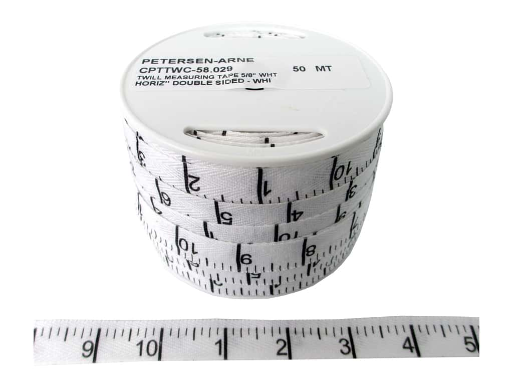Printed Twill Tape by Cheep Trims Measuring Tape Horitzontal Inches White (50 yards)