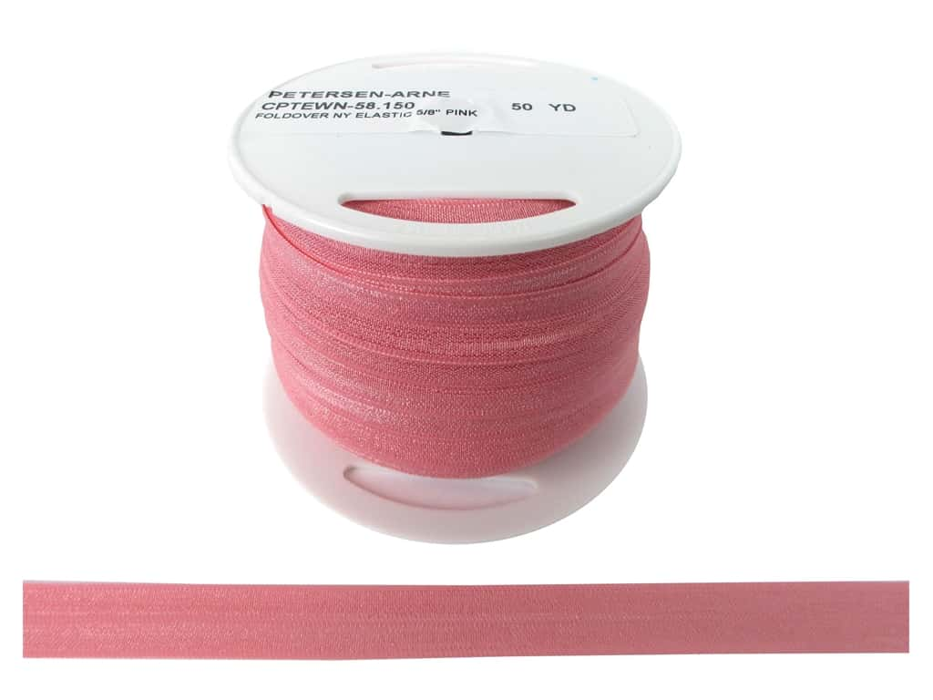 Fold Over Nylon Elastic by Cheep Trims 5/8 in. Pink (50 yards)