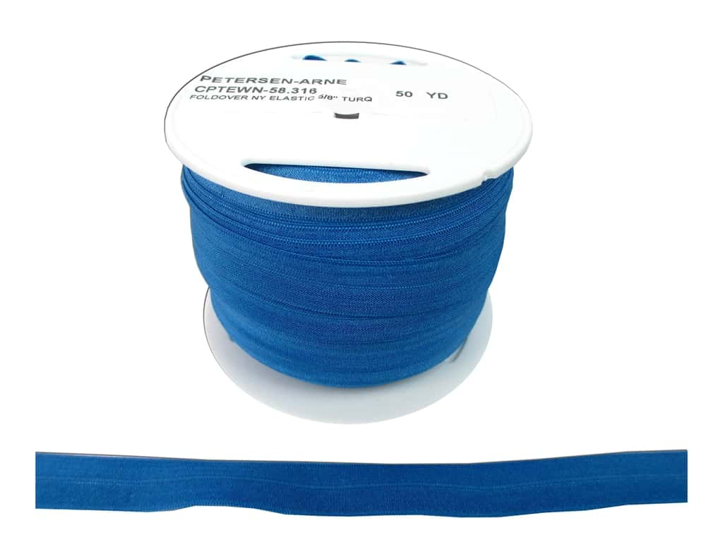 Fold Over Nylon Elastic by Cheep Trims 5/8 in. Turquoise (50 yards)