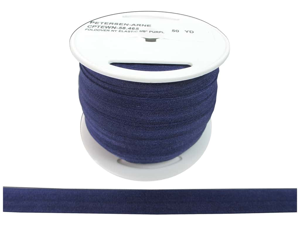 Fold Over Nylon Elastic by Cheep Trims 5/8 in. Purple (50 yards)
