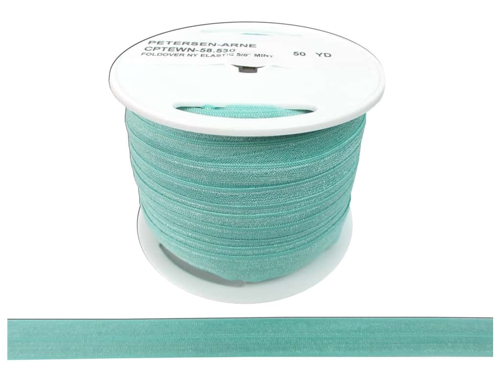 Fold Over Nylon Elastic by Cheep Trims 5/8 in. Mint (50 yards)